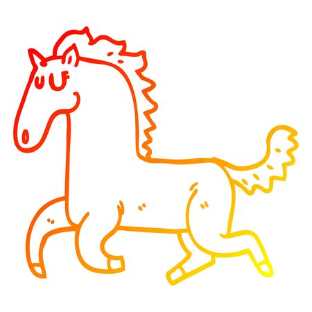 warm gradient line drawing of a cartoon running horse Çizim