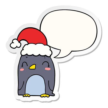 cute christmas penguin with speech bubble sticker Ilustrace