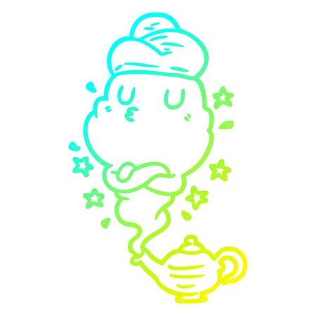 cold gradient line drawing of a cute genie rising out of lamp