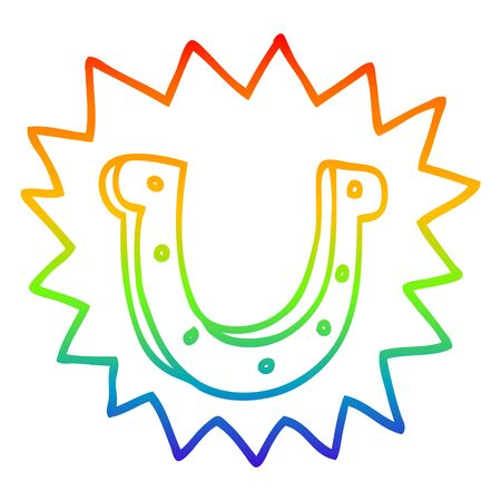 rainbow gradient line drawing of a cartoon crazy lucky horseshoe symbol