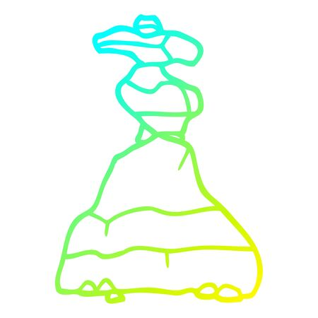 cold gradient line drawing of a cartoon boulders