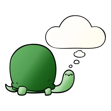 cute cartoon tortoise with thought bubble in smooth gradient style Stock Illustratie