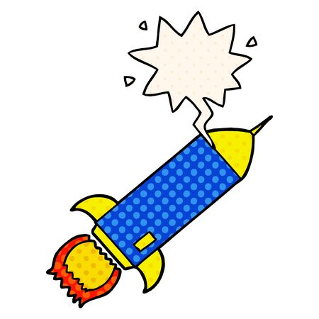 cartoon rocket with speech bubble in comic book style