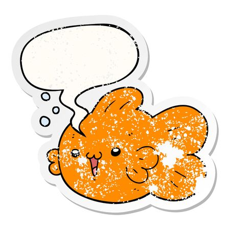 cartoon fish with speech bubble distressed distressed old sticker
