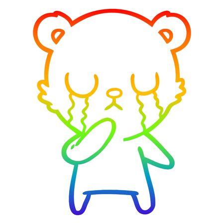 rainbow gradient line drawing of a crying polar bear cartoon