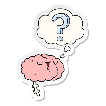 cartoon curious brain with thought bubble as a printed sticker
