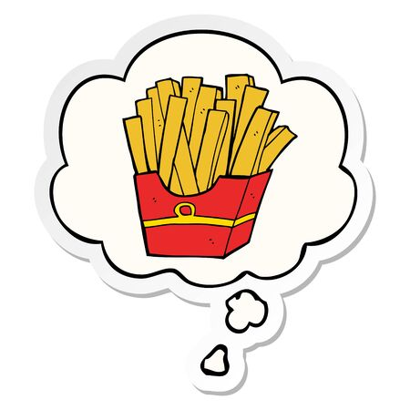 cartoon fries with thought bubble as a printed sticker
