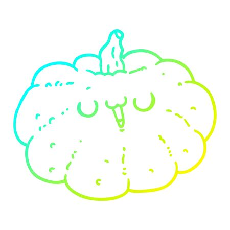 cold gradient line drawing of a happy cartoon pumpkin