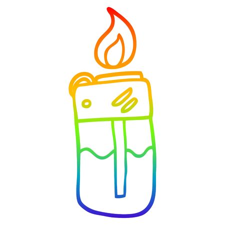 rainbow gradient line drawing of a cartoon cigarette lighter