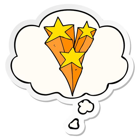 cartoon shooting stars with thought bubble as a printed sticker