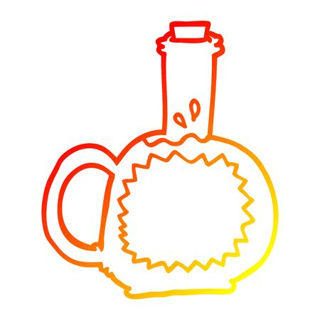 warm gradient line drawing of a cartoon syrup Illustration