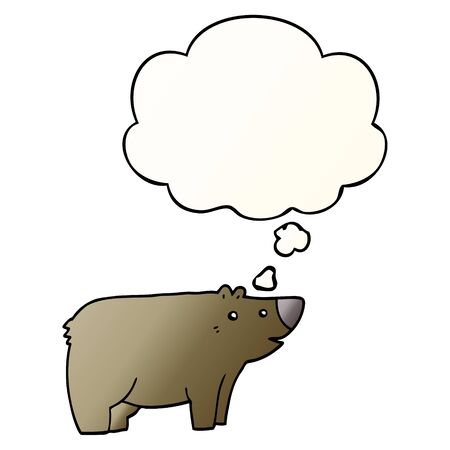 cartoon bear with thought bubble in smooth gradient style