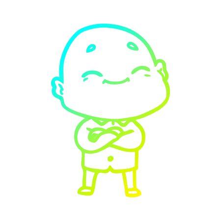 cold gradient line drawing of a cartoon happy bald man Reklamní fotografie - 129854759