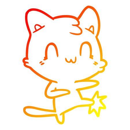warm gradient line drawing of a cartoon happy cat karate kicking Çizim
