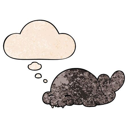 cartoon seal with thought bubble in grunge texture style