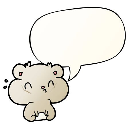 cartoon hamster with full cheek pouches with speech bubble in smooth gradient style Ilustracja