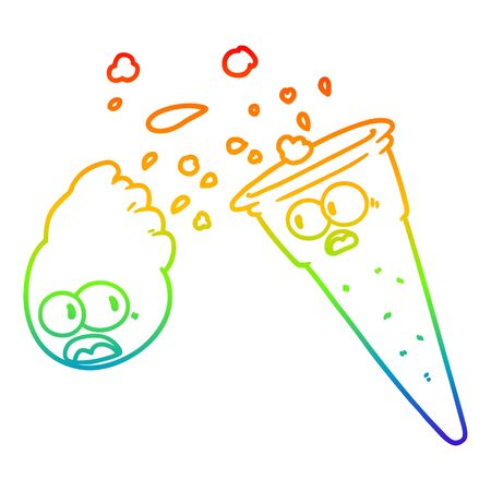 rainbow gradient line drawing of a cartoon ice cream
