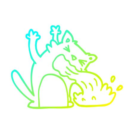 cold gradient line drawing of a cartoon of an ill cat
