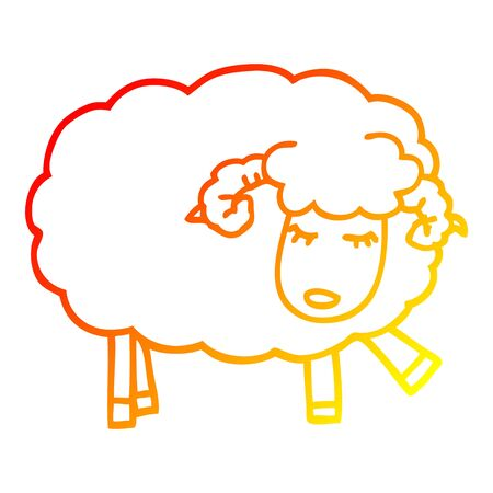 warm gradient line drawing of a cartoon cute sheep