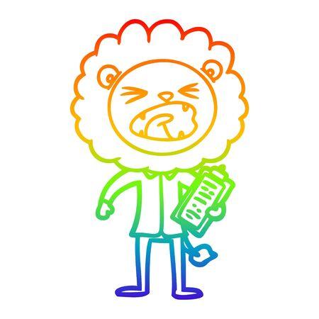 rainbow gradient line drawing of a cartoon lion salesman Ilustrace