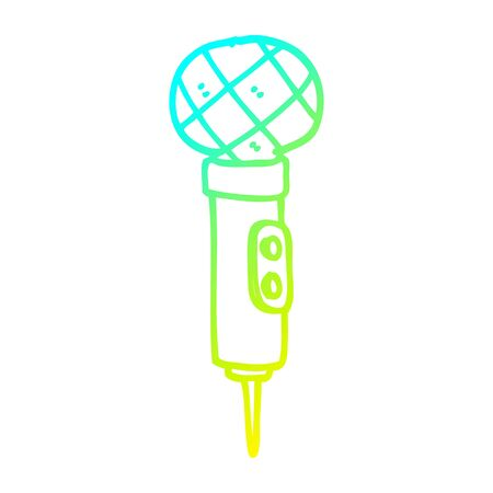 cold gradient line drawing of a cartoon microphone