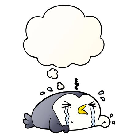 cartoon crying penguin with thought bubble in smooth gradient style