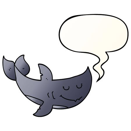 cartoon shark with speech bubble in smooth gradient style