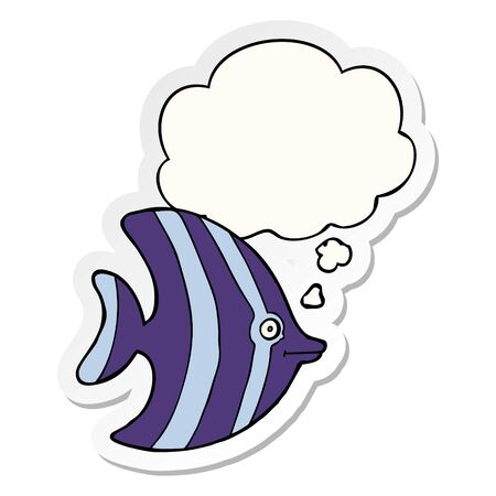cartoon angel fish with thought bubble as a printed sticker