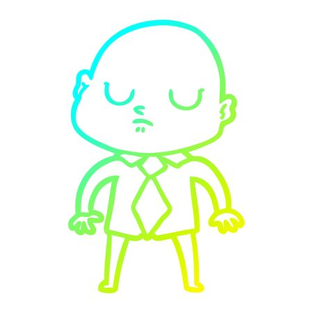 cold gradient line drawing of a cartoon bald man