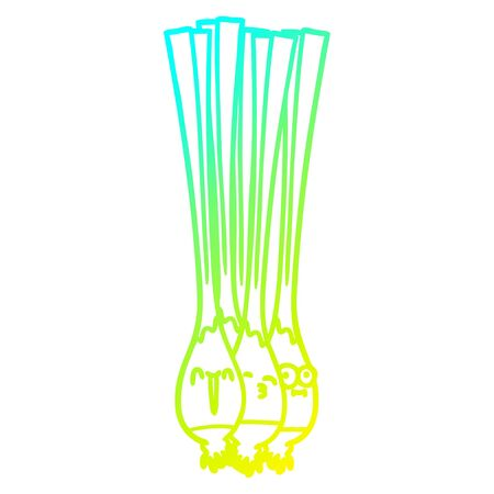 cold gradient line drawing of a spring onions
