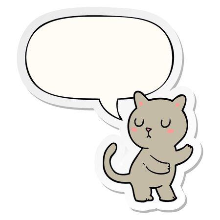 cartoon cat with speech bubble sticker Ilustrace