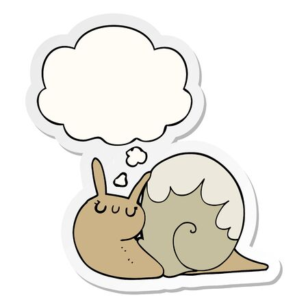 cute cartoon snail with thought bubble as a printed sticker Ilustrace