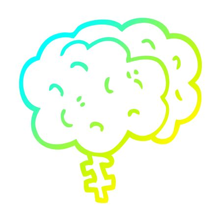 cold gradient line drawing of a cartoon brain