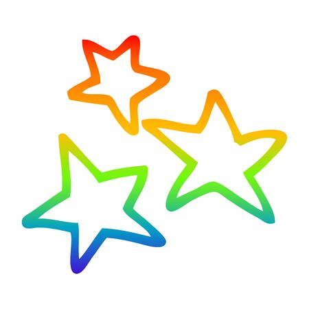 rainbow gradient line drawing of a cartoon star