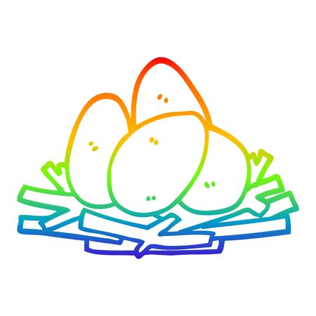 rainbow gradient line drawing of a cartoon eggs in nest