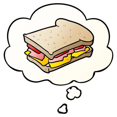 cartoon ham sandwich with thought bubble in smooth gradient style