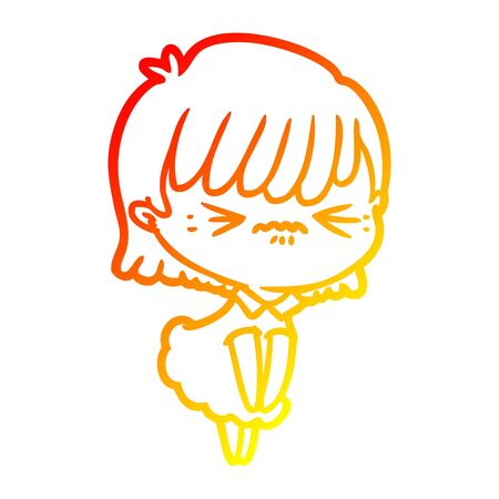 warm gradient line drawing of a annoyed cartoon girl