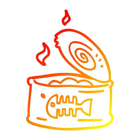 warm gradient line drawing of a cartoon tin of tuna