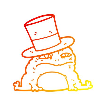 warm gradient line drawing of a cartoon rich toad