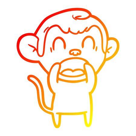 warm gradient line drawing of a shouting cartoon monkey Illusztráció