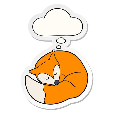 cartoon sleeping fox with thought bubble as a printed sticker