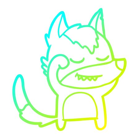 cold gradient line drawing of a tired cartoon wolf