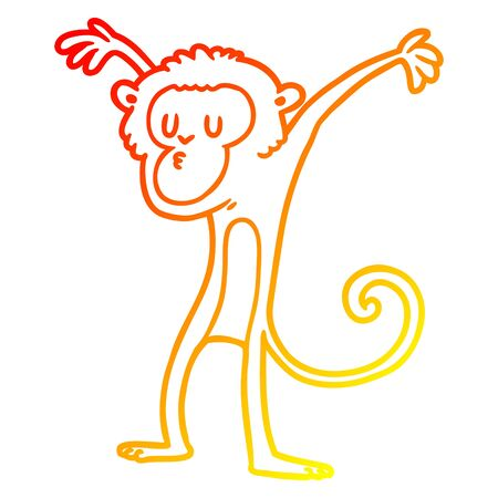 warm gradient line drawing of a cartoon monkey Illustration