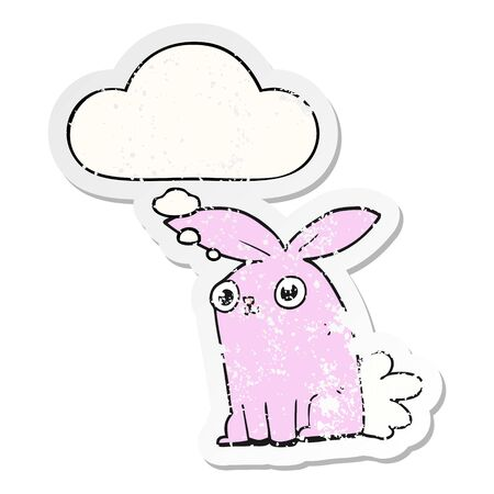cartoon bunny rabbit with thought bubble as a distressed worn sticker Ilustrace