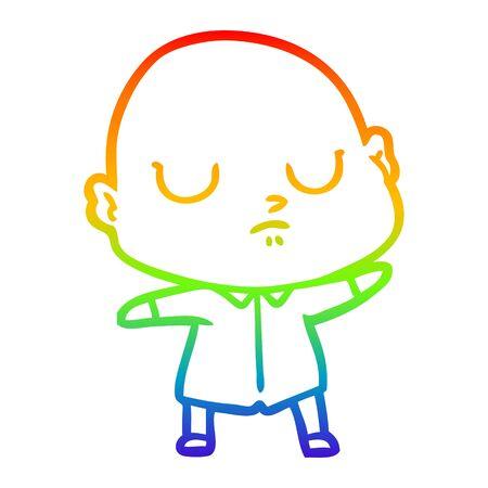 rainbow gradient line drawing of a cartoon bald man Reklamní fotografie - 129855088