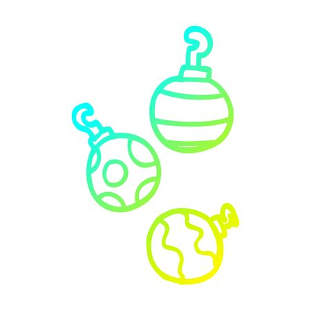 cold gradient line drawing of a cartoon xmas baubles