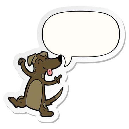 cartoon dancing dog with speech bubble sticker