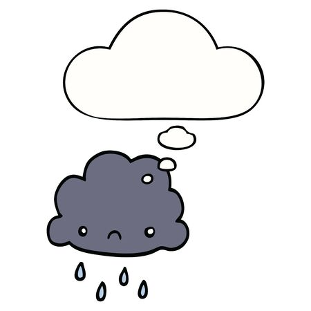 cartoon storm cloud with thought bubble Çizim