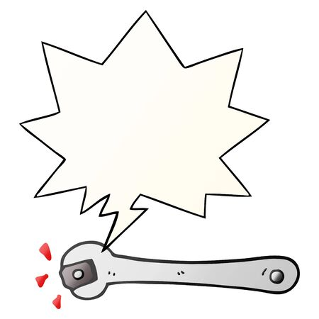 cartoon spanner turning nut with speech bubble in smooth gradient style