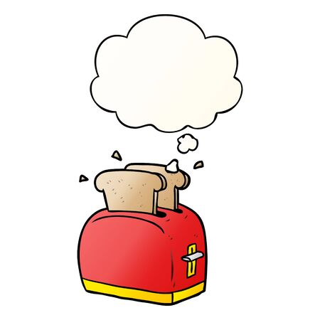 cartoon toaster with thought bubble in smooth gradient style 写真素材 - 129855139